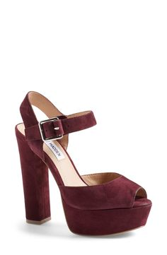These burgundy suede sandals from Nordstrom will transition beautifully into next season. loving the platform trend. they are so much easier to walk in. Sock Shoes, Cute Shoes, Me Too Shoes, Shoe Boots, Shoes Heels, 70s Shoes, Steve Madden Pumps, Madden Shoes, Color Borgoña