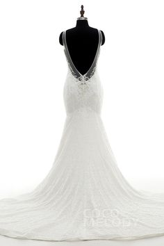 Glorious Mermaid V-Neck Tulle and Lace Ivory Sleeveless Open Back Wedding Dress with Beading and Embroidery CWAT16006 #designercollections #customdresses #cocomelody #weddingdresses