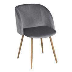 Mid-Century Velvet Chair Grey