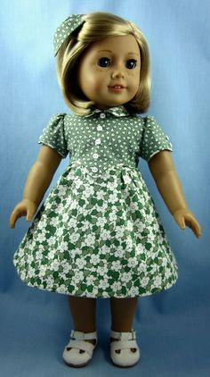 1930s Frock for American Girl Dolls - Kit or Ruthie - Green and White Leaves and Flowers via Etsy