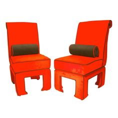 Ming - James Mont Style Side Chairs - A Pair - $4,000 Est. Retail - $2,000 on Chairish.com