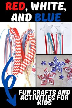 Over 20 different Patriotic crafts and activities for kids that are easy and fun to do. Red, White and Blue themed recipes, crafts and activities to do with your kids. Creative Activities For Kids, Creative Arts And Crafts, Rainy Day Activities, Easy Crafts For Kids, Arts And Crafts Projects, Creative Kids, Fun Projects, Summer Activities, Writing Prompts For Kids
