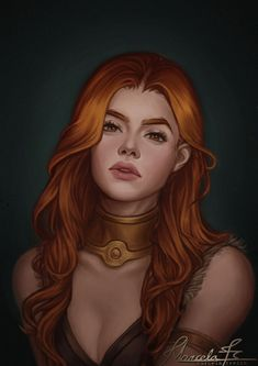 f Cleric Med Armor Necklace portrait urban City Temple undercity SirensSin by MarcelaFreire DeviantArt lg Fantasy Girl, Chica Fantasy, Fantasy Women, Redhead Characters, Book Characters, Fantasy Characters, Female Characters, Character Concept, Character Art