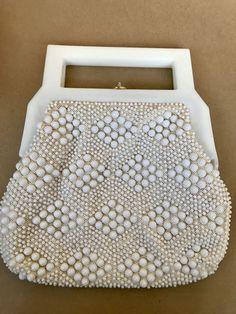 White acrylic bead purse vintage purse beaded purse beaded
