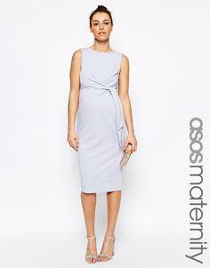 ef3e7c4708 ASOS Maternity Knot Side Midi Bodycon Dress Moda Ciążowa