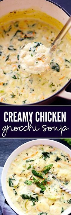 Creamy Chicken Gnocchi Soup has a thick and rich broth with shredded carrots, ce. CLICK Image for full details Creamy Chicken Gnocchi Soup has a thick and rich broth with shredded carrots, celery, chopped spinach and gn. Pasta Recipes, Crockpot Recipes, Chicken Recipes, Dinner Recipes, Cooking Recipes, Healthy Recipes, Lunch Recipes, Creamy Soup Recipes, Endive Recipes