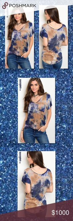 ⭐️⭐️COMING IN 2-3 DAYS RESERVE YOUR SZ TODAY⭐️⭐️ New blue and taupe short sleeve v-neck tie dye jersey top. Material: 95% Rayon 5% Spandex Color: Blue and taupe tye dye Made in USA Sizes Avail: Small, Medium, Large Fits true to size Jersey material  PRICE FIRM UNLESS BUNDLED SORRY TRADES AND LOW BALL OFFERS WILL BE IGNORED Glam Squad 2 You Tops Tees - Short Sleeve