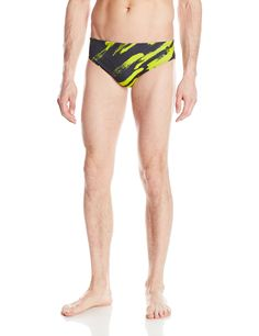 b9708a71c5 Speedo Men's Endurance Lite Turnz Brief Swimsuit, Speedo Black/Strokes Up,  Size 32