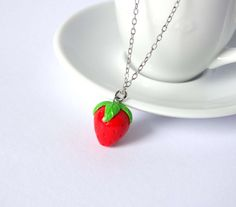 Strawberry necklace charm pendant fruit by ShinyStuffCreations
