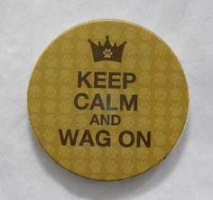 """Keep Calm and Wag On"" AbsorbaStone Auto Coaster"