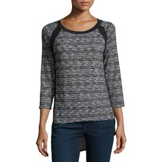 Neiman Marcus Knit & Georgette Baseball Tee Tunic ($24) ❤ liked on Polyvore featuring tops, tunics, grey, georgette tunic, marble top, grey tunic, raglan top and grey top