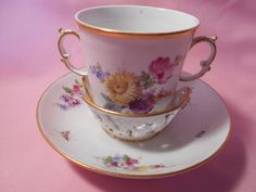 Antique 19thC Meissen TREMBLEUSE Cup & Saucer Blue Crossed Swords Floral/Insects #Meissen