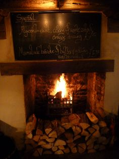 A country pub with a fireplace