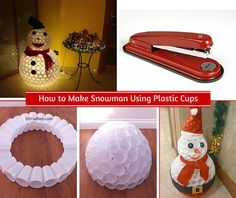 Plastic cups plastic and sparkle on pinterest for Snowman made out of cups