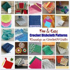 Easy Crochet A roundup of free and easy crochet dishcloth patterns. These crocheted dishcloths are perfect for the kitchen and around the home. - Free and easy crochet dishcloth patterns compiled by CrochetNCrafts. V Stitch Crochet, Free Crochet, Crochet Top, Learn Crochet, Crochet Things, Irish Crochet, Crochet Stars, Crochet Mandala, Crochet Dishcloths