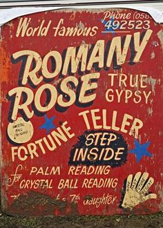 Romany Rose, True Gypsy Fortune Teller – nice lettering, lovely layout via