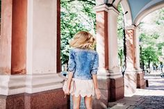 Fall outfit with a scalloped hem dress and a cool denim jacket worn in Helsinki - Anna Pauliina, Arctic Vanilla blog.