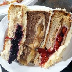 3 layer cake with 3 different pies baked inside the cake.