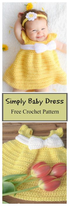 Simply Spring Baby Dress Free Crochet Pattern #freecrochetpatterns #babydress
