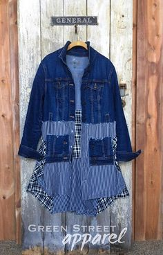 Item Overview: • Handmade Item • Materials: recycled clothing, upcycled clothing, cotton, denim, repurposed shirts, buttons. • Ships worldwide from St. Paul, Minnesota Item Details: This funky Boho womens upcycled denim jean jacket is lightweight, comfy and casual, yet urban chic