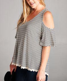 Oatmeal Stripe Cutout Tunic - Plus
