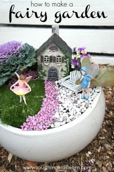 Fairy garden and how to make a simple one for children. Great for imaginative play and getting kids outdoors.