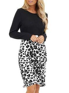Plaid Patchwork Leopard Print Dress – shrural.com Plaid And Leopard, Leopard Blouse, Leopard Top, Plaid Outfits, Plaid Dress, Leopard Print Bag, Fashion News, Tunic Tops, Dresses