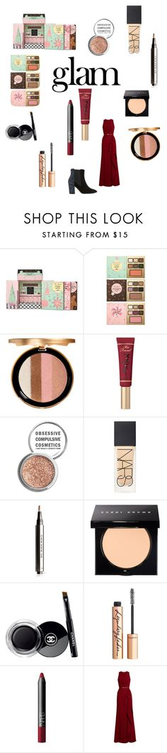 """""""Holiday Happiness"""" by briannaduffin ❤ liked on Polyvore featuring beauty, Naeem Khan, Too Faced Cosmetics, Obsessive Compulsive Cosmetics, NARS Cosmetics, Burberry, Bobbi Brown Cosmetics, Chanel, Charlotte Tilbury and Elie Saab"""