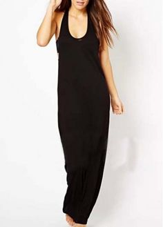 Casual Solid Black Sleeveless Maxi Dress looks SO comfortable