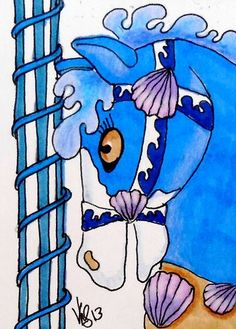 ACEO CAROUSEL SEASHORE HORSE ON EBAY