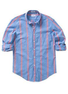 India Madras Awning Stripe - Blue & Pink Stripe