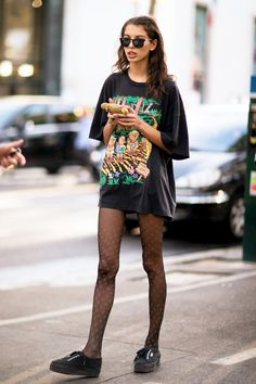 Alice Vanessa Metza Big tee as mini dress paired with tights.