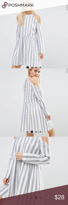 ASOS cold Shoulder Cotton Stripe Dress 6 Waited too long to return this- no longer available online! - could fit Petite or regular- open to offers!- closet closes August 10 Asos Dresses