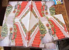 5 NEW GERMAN VICTORIAN TRADITIONAL CHRISTMAS RED STAIRWAY HOME PAPER NAPKINS LOT #German