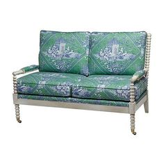 """Ava 56"""" Spindle Settee Emerald Toile Settees ($2,299) ❤ liked on Polyvore featuring home, furniture, sofas, sofa, handcrafted furniture, english sofa, spindle furniture, emerald green furniture and emerald green couch"""