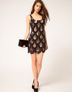 TFNC Dress with Scalloped Iridescent Sequins, black and gold version