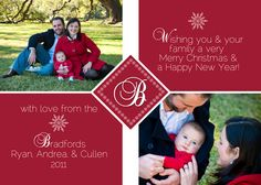 Snowflake initial/monogram Christmas card (other colors available