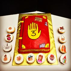 Gravity Falls journal cake with matching cupcakes