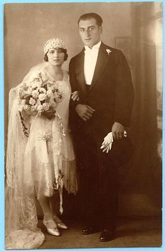 Bride and groom, 1920s.