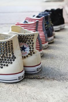 All Star Converse Style Converse, Converse Sneakers, Converse All Star, Canvas Sneakers, Grunge Style, Soft Grunge, Galaxy Converse, Studded Converse, White Converse