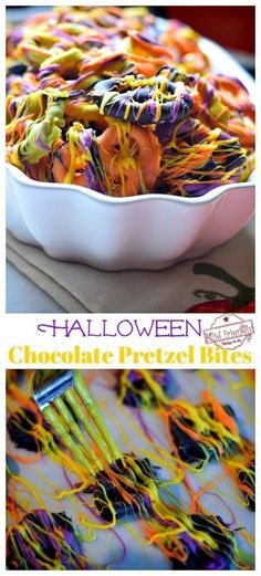 These Easy and Colorful Halloween Chocolate Covered Pretzel Bites are the perfect fun food treat for your fall or Halloween party. They are the perfect DIY Halloween treat for both kids, and adults. www.kidfriendlythingstodo.com #halloweentreatforkids #halloweentreatforschoolparties #halloweentreatforadults #halloweentreatseasy #halloweenchocolatepretzelbites