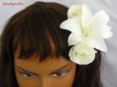 Bridal Hair Flower with Lily and Roses by JewelryinBox on Etsy, $35.00