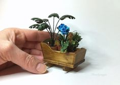 Dollhouse plants.Miniature plants in antique crib.Rustic dollhouse decoration. Dollhouse cradle.Vintage.