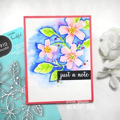 Gorgeous watercolor card using a metal craft die.  99910 Fresh Picked Flowers die and CL5202 Sentimental Iris Clear stamp set (sentiment)