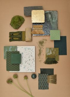 Palette Le Nu Sauvage, Green Material board, Interior Design Paris / Planche matériaux Ludivine Moure et Evane Haziza Bonnamour
