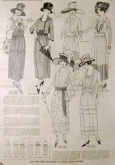 New Idea Quarterly - Summer 1918    This is an 1918 pattern catalog that was passed down to me by my grandmother. I think the illustrations are really beautiful during this period, and I love the fact that they show a little sketch of the back view for each dress.