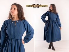 Dark Blue Folk style Long sleeve dress / Prairie Country Peasant dress / German austrian Dirndl Style Folk Ethnic dress /  size Small Dirndl Dress, Folk Style, Get Fresh, Ethnic Dress, Folk Fashion, Dark Blue, German, Fashion Dresses, Cold Shoulder Dress