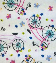 Snuggle Flannel Fabric Happy Bikes