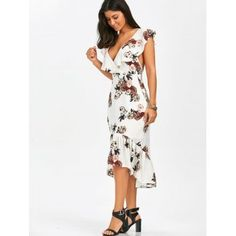 Plunging Floral Ruffle Backless Tea Length Dress - WHITE WHITE