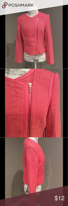 Asymmetrical Moto Jacket Beautiful asymmetrical moto jacket with Faux leather trim at neckline, alongside zipper and around armholes.  Zipper down the front, beautiful watermelon color. Forever 21 Jackets & Coats